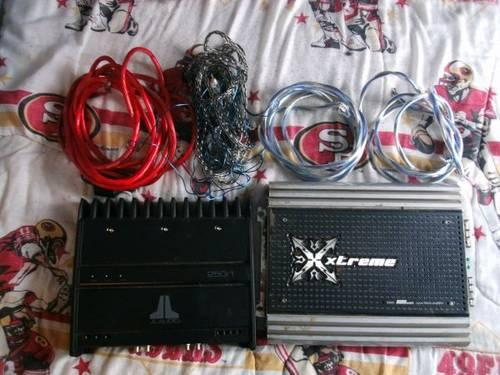 2 subs, wireing, 2 amps & 2 boxes