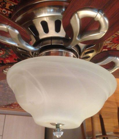 42? Hunter Ceiling fan, brushed nickel w/swirled marble light