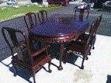 DINING ROOM TABLE SET OF 6 CHAIRS CHERRYWOOD FRUITWOOD BALL AND CLAW