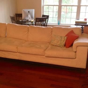Jennifer Convertibles Micro Fiber Sleeper Sofa Cream Color in Staten Island New York