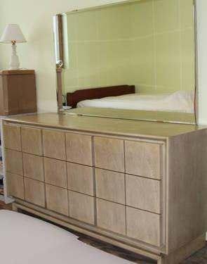 partial bedroom set mid century modern blonde finish