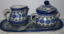 Polish Pottery Creamer Sugar Bowl And Tray 5-Piece Set NEW