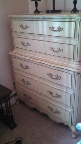 Tall Ladies Dresser - Ivory/Eggshell with Gold Trim