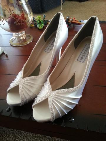 Touch Ups Erika Satin Dyeable Heel w/Swarovski crystals bridal shoes