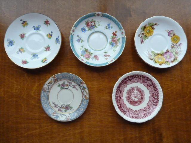 Unmatched Saucers (5) and Tea Cups (2)