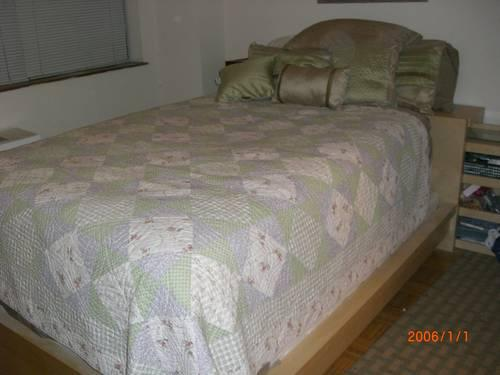 Used ikea queen size bed and headboard unit w box spring in manhattan new york new york - Ikea queen size box spring ...