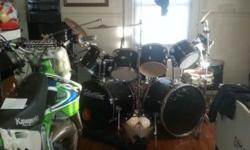 For sale a black 12 piece drum set with all hardware will make an excellent Xmas gift for the rocker please call 585-775-1971
