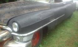 1953 Cadillac meteor flower car. very rare. one of less than 15 made. perhaps the only one left in the world.engine is incomplete. missing the carberator,intake manifold,valve covers,generator,water pump and radiator. very rough and rusty. but its a one