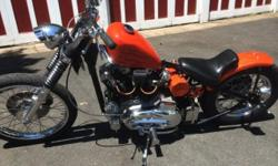 "Need to sell ASAP! 1974 harley davidson Ironhead ""Hardtail bobber"". Runs great no issues. New custom paint, new frisco style fuel tank, New S&S carb, HID headlight, custom 32 ford tailight, brakes all work, lights all work. Tires are good. new rear"