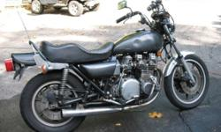 1980 KZ 1000 LTD B. The bike is not currently running (dead battery). I'm not a mechanic but I believe that the cam chain is loose and one cylinder fouls the plug. The bike is not original it has been modified. Has new bars and grips. Tires, chain,