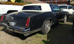 1984 CADILLAC ELDORADO BIARRITZ. THIS CAR IS ONE OF THE SURVIVORS OF THE CADILLAC BIARRITZ. THIS CAR HAS BEEN SITTING IN THE LOT AND WILL SELL AS IS. CAR RUNS AND DRIVES BUT NEEDS WORK. MUST SELL $1250 CALL 845-693-4955
