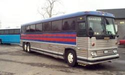 This bus is a very special model in that it has enclosed overhead racks, color co-ordinated seats and carpeted sidewalls and ceiling. It is currently out of service with an engine problem. It was originally operated in Texas since new. It would make an