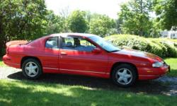 1995 Chevrolet Monte Carlo LS, 3.1L, 6 cylinder engine, automatic transmission, 138K miles, extremely clean car, charcoal gray & black interior, torch red exterior. Always maintained, owned by a woman & previous owner was also a woman. The car was never