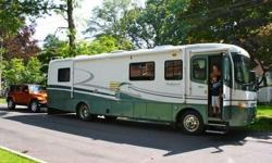 The motorhome listed here is a 36 foot 1998 Holiday Rambler Endeavor. It has a Cummins engine and Allison transmission. It has one slide out room, Corian countertops throughout. Tile floor in kitchen and bath. Microwave and stovetop. Dual Fuel fridge.