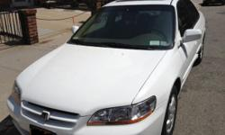 Honda Accord white color One owner Car with 72500 miles only 4 cylinder engine ULEV- VTEC It's Perfect GAS SAVER ! Good condition, saved inside a garage. Good car For Sale, used the weekends only, Clean interior Tan Color interior, Clean seats, Power
