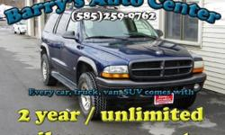 **Get a FREE 2 Year Unlimited Mileage Warranty!!** Here is a powerful 2002 Dodge Durango SXT V8 4WD. This vehicle will power through winters, like the one we are having, very easily. This Durango comes with keyless entry, basic power options, seperate