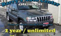 **Get a FREE 2 Year Unlimited Mileage Warranty!!** Here we have a wonderful 2002 Jeep Grand Cherokee 4WD that is a beauty to drive. This car is loaded with options including keyless entry, trip computer, second row folding seats, power options, air