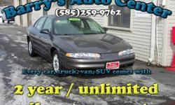 **Get a FREE 2 Year Unlimited Mileage Warranty!!** Here is a low mileage Oldsmobile Intrigue GX Sedan. This car has basic power options, cruise control, ABS Brakes, Alloy wheels and more. Come check it out today. You could take this home for as low as