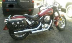 2003 Kawasaki Vulcan Classic , 800cc, 25k miles, clean very good condition, solo Mustang seat and original two up seat. Lock on removable leather bags, removable windshield, auxiliary road lights, garage kept, never down. New rear tire, front tire only