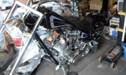 2004 PitBoss Chopper Super SideWinder Black with Silver/Purple Graphics (ABSOLUTELY NO TEXT MESSAGES) S & S 1584cc Engine 6 Speed Left Side Drive Frame: Daytech NO TRADES! Vance & Hines Short Shots Exhaust Rake: 40 in the neck 3 in the trees Front Tire: