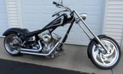 2004 PitBoss Chopper Super SideWinder Black with Silver/Purple Graphics S & S 1584cc Engine 6 Speed Left Side Drive Frame: Daytech Vance & Hines Short Shots Exhaust Rake: 40 in the neck 3 in the trees Front Tire: 21x2.15 Rear Tire: 18x8.5 Lepara Seat