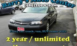 **Get a FREE 2 Year Unlimited Mileage Warranty!!** Here is a nice 2005 Chevy Impala V6 Hard Top. This car is loaded with basic power options and a 3.4L V6 SFI engine. Drive home in this car today for as low as $122/month! Tax season is upon us. Use your