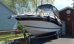 This is a nice Four Winns boat for sale with a 2012 tandem trailer. Boat sleeps 4 in 2 bedrooms, comes with VHF, dept finder, full head,bumpers, cables and more. Approximately 357 hours and comes with 3 tops. Call for more information.