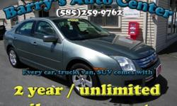 **Get a FREE 2 Year Unlimited Mileage Warranty!!** Here is a super clean 4cyl Fusion with all the power options. We did a NYS inspection and safety check, replaced the rear brake pads and rotors, and replaced all four tires. New tires and brakes and an