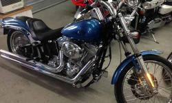 2006 Harley Davidson FXST Blue 25317 mi 1440cc Detachable Backrest & 2 up Seat, Cobra Exhaust, Lots of Chrome T-Bar Handlebars Call our staff today at: 315-788-6900 http://smmotorsportsny.com/sandmmotorsports/bikes.htm