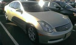Look at this 2006 Infiniti G35 Coupe . It has a transmission and a Gas V6 3.5L/213 engine. This G35 Coupe has the following options: Continuously variable valve timing control system, Vehicle security system w/immobilizer, Emergency inside trunk release,