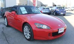 007 HONDA S-2000 2dr Convertible Formular Red Rwd Leather Steering- Manual 5SPD -4 Cyl. Black Leather Interior - Alloy Wheels - Power Conv. Top A Very Rare Find - Try and Find Another Drives and Looks Excellent Vin. JHMAP21447S002313 Stk # U19178T Be sure