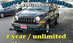 **Get a FREE 2 Year Unlimited Mileage Warranty!!** Here is a 2007 Jeep Liberty Sport 4WD that is loaded with traction control, basic power options and more. You could be cruising in this vehicle today with an awesome 2 year warranty for just $184 a