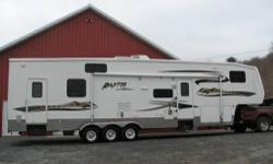 Slides:1 2007 Keystone Raptor 3814 , Our family took this fifth wheel unit on only a few camping trips since we purchased it new. So, we thought we should offer it for sale. It is VERY clean. It has a larger than average garage as toy haulers go at 14
