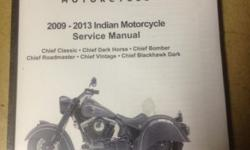 Covers 2009-2013 Indian Chief Dark Horse Part# 9924073 Paypal, STRIPE (for all major credit cards), cash, checks and money orders accepted. Any questions please email. These are new, dealer factory Spec service/shop repair manuals just as the dealers have