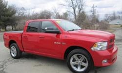 ***CLEAN VEHICLE HISTORY REPORT***, ***ONE OWNER***, ***PRICE REDUCED***, and LEATHER BUCKETS, TOW PACKAGE, SLIDING WINDOW AND TONEAU COVER. Ram 1500 Sport, 4D Crew Cab, HEMI 5.7L V8 Multi Displacement VVT, 4WD, and Flame Red. Looking for an amazing value