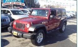 SUPER CLEAN! NEW TIRES!! JEEP CERTIFICATION INCLUDED!! NO HIDDEN FEES!!! This 2011 Jeep Wrangler Unlimited Sport is proudly offered by Central Avenue Chrysler This beautiful Deep Cherry Red Crystal Pearl Coat Wrangler Unlimited Sport qualifies for the
