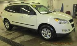 ***CLEAN VEHICLE HISTORY REPORT***, ***ONE OWNER***, and ***PRICE REDUCED***. Traverse LS, AWD, and White. Outstanding fuel economy for an SUV! Take your hand off the mouse because this charming 2012 Chevrolet Traverse is the gas-saving SUV you've been