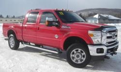 ***CLEAN VEHICLE HISTORY REPORT***, ***PRICE REDUCED***, and LEATHER. F-350 SuperDuty Lariat, 4D Crew Cab, Power Stroke 6.7L V8 DI 32V OHV Turbodiesel, 4WD, and Red. Confused about which vehicle to buy? Well look no further than this hard-working 2012