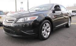 FORD CERTIFIED, ONE OWNER, 2012' FORD Taurus SEL 201A Package, 4D Sedan, Duratec 3.5L V6, 6-Speed Automatic with Select-Shift, Front Wheel Drive, Tuxedo Black Metallic, Charcoal Black w/Unique Cloth Bucket Seats, Reverse Sensing System,18 Painted Sparkle