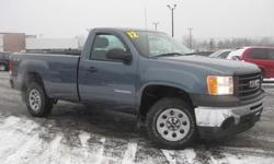 ***CLEAN VEHICLE HISTORY REPORT***, ***ONE OWNER***, and ***PRICE REDUCED***. Sierra 1500 Work Truck, 2D Standard Cab, Vortec 4.3L V6 MPI, 4-Speed Automatic with Overdrive, 4WD, and Vinyl. Creampuff! This beautiful 2012 GMC Sierra 1500 is not going to