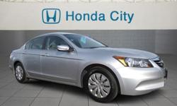 Look at this 2012 Honda Accord Sdn LX. It has an Automatic transmission and an I4 2.4L engine. This Accord Sdn has the following options: 3-point seat belts in all seating positions -inc: front automatic tensioning system, Dual-stage, dual-threshold front