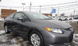 Look at this 2012 Honda Civic Cpe LX. It has an Automatic transmission and a Gas I4 1.8L/110 engine. This Civic Cpe features the following options: Driver footrest, Security system, 3-point seat belts in all seating positions -inc: front automatic