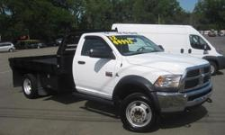 To learn more about the vehicle, please follow this link: http://used-auto-4-sale.com/108762366.html ***CLEAN VEHICLE HISTORY REPORT***, ***ONE OWNER***, ***PRICE REDUCED***, and STAKE BODY. Ram 5500HD ST, 6.7L I6, 6-Speed, 4WD, and White. Set down the