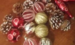 Up for sale is lot of 20 holiday Merry Christmas ornaments that consist of balls, pinecone Color: Brown/Silver/Gold/Red Condition: In very good condition. Measures approx: 2 inches width x 2 inches height Price: $12 Contact: 3477815571