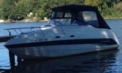 Please call owner Denny at 585-750-5045. Boat is in Canandaigua, NY. ONLY 128 hours, 2 batteries, inverter, sleeps 4 below and 2 on deck,convertible dinette with refrig and single burner cook top, head with shower. Trim tabs, Lowrance GPS, cockpit and