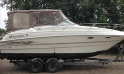 Please call boat owner John at 631-706-4338. Boat Location: Sayville, New York. The Larson Cabrio 254 Mid-Cabin has a host of big-boat features with a trailerable beam that makes it possible to visit new cruising grounds when the fancy strikes. The