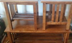 "Up for sale is a set of 3 tables 1 Coffee tablet and 2 side tables Color: Antique Measures: Coffee Table: 44"" Width x 20"" Height Material: Hard Wood Condition: In very good working condition. Price: Make an offer Contact: 3477815571"