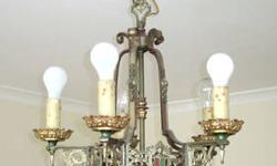 "5-Arm Chandelier: 1920's French style; Fleur de Lis, with Shield&Armor embellishing. Each light cup (bobeche) is stamped with the original ""ART CRAFT"" logo. (This is not the company which began in 1955). It is in perfect working order, taken down due to"