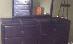 Headboard and frame. 2 bedside dressers his and hers. Tall dresser. Wide dresser with mirror. Chesttrunk. Brown leather like material need gone ASAP text 3157835140. Pick up village of philadelphia