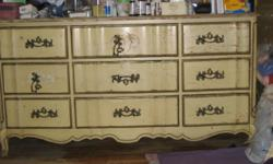 "All Wood 9 Drawers Dresser - $200 (jks. hts., queens) MOVING --------------Must Sell Everything IMMEDIATELY! Description: Queen Anne Style cream color, pure wood, very sturdy, durable Measurements for the dresser: Length: 64"" x Width: 20"" x Height:"